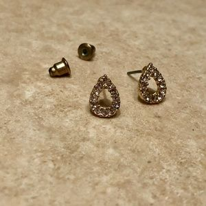 Open Pear Shaped Stud Earrings